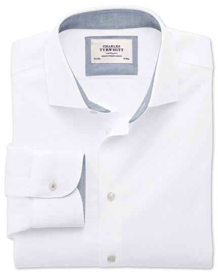 Slim fit semi-cutaway collar business casual textured white shirt