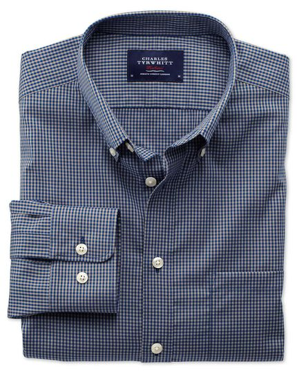 Classic fit non-iron poplin blue and grey check shirt