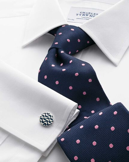 Navy and pink silk classic spot tie