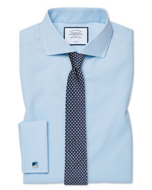 Extra slim fit spread collar non-iron poplin sky blue shirt