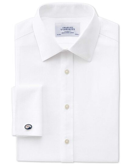 Slim fit non-iron honeycomb white shirt