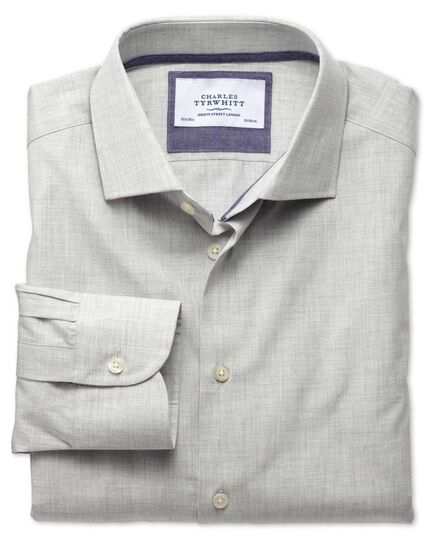 Classic fit semi-cutaway collar business casual melange grey shirt