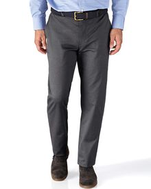 Charcoal slim fit stretch cavalry twill chinos