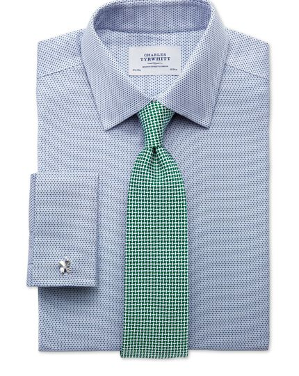 Slim fit non-iron imperial weave blue shirt