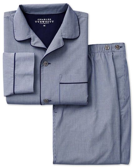 Pyjama-Set aus Baumwolle in Marineblau mit Gingham Muster