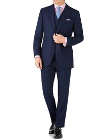 Navy stripe slim fit British serge luxury suit