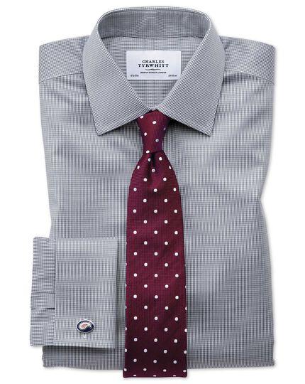 Chemise gris foncé pied-de-poule coupe droite sans repassage