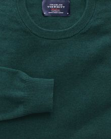 Mid green cotton cashmere crew neck jumper