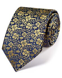 Navy and gold silk luxury English floral tie