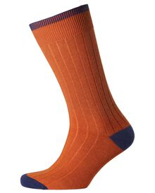 Orange ribbed socks
