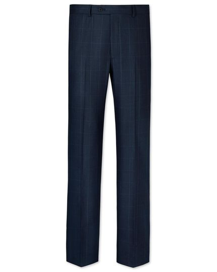 Mid blue slim fit windowpane travel suit pants