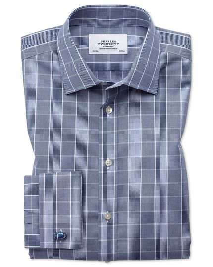 Classic fit non-iron Prince of Wales navy blue and white shirt