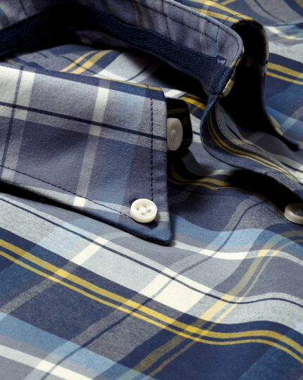 Slim fit grey and blue check washed shirt