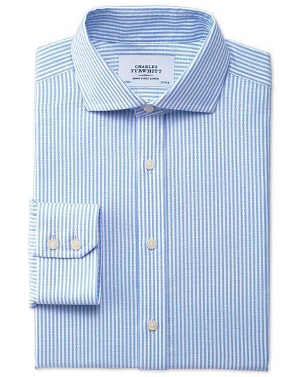 Slim fit spread collar non-iron royal Oxford sripe sky blue shirt