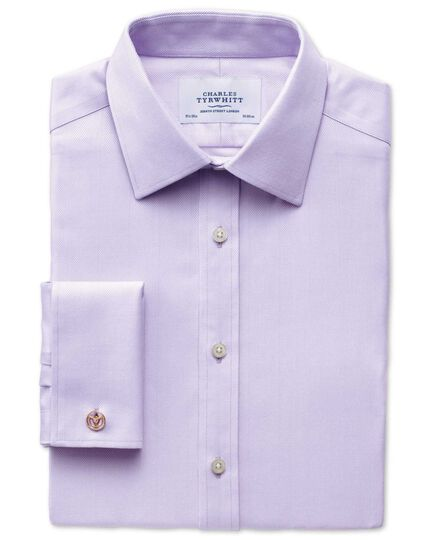 Classic fit non-iron herringbone lilac shirt
