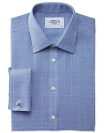Extra slim fit non-iron Prince of Wales blue and green shirt