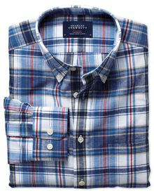 Slim fit blue and red check cotton linen shirt