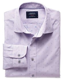Classic fit pink and blue poplin dobby spot shirt