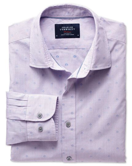 Slim fit pink and blue poplin dobby spot shirt