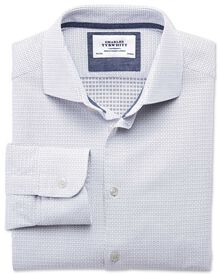 Slim fit semi-spread collar business casual square dobby white and navy blue shirt
