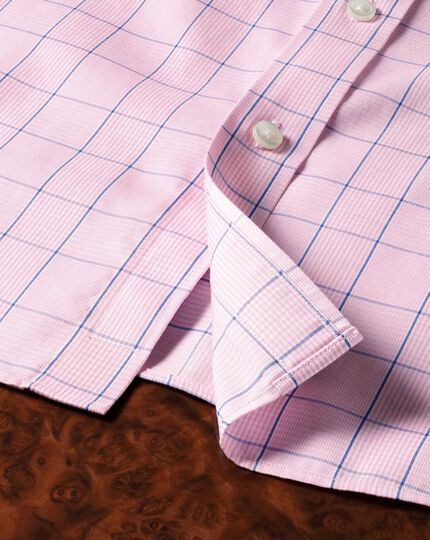 Bügelfreies Slim Fit Hemd in Rosa und Blau mit Prince-of-Wales-Karo