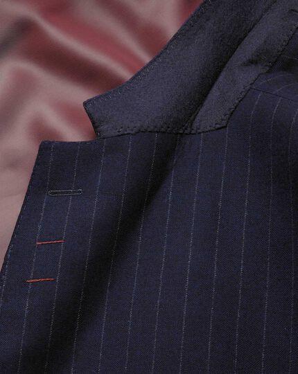 Classic Fit Anzug Sakko aus Flanell in Marineblau mit Streifen