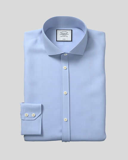 Extra slim fit spread collar non-iron herringbone sky blue shirt
