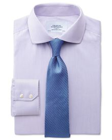 Slim fit cutaway collar non-iron mouline stripe lilac shirt