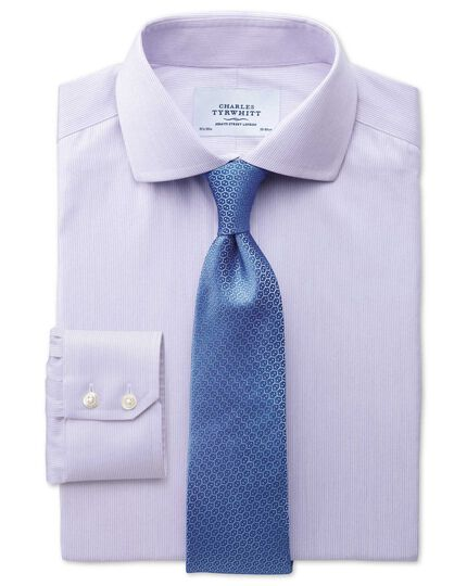 Slim fit spread collar non-iron mouline stripe lilac shirt