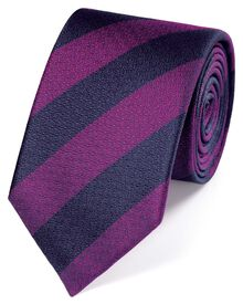 Navy and pink silk block stripe classic tie