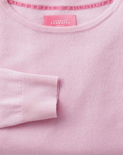 Light pink merino cashmere long line jumper