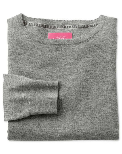 Light grey merino cashmere long line sweater