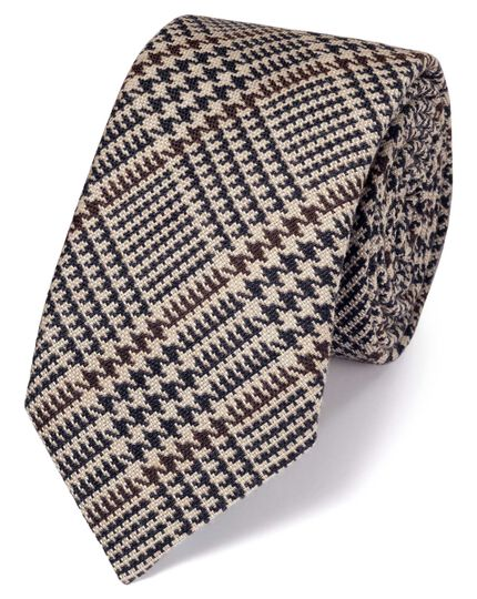 Brown wool mix Prince of Wales check luxury tie