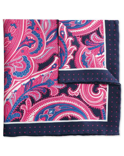 Navy and pink paisley border classic pocket square