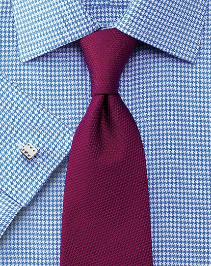 Classic fit non-iron houndstooth blue shirt