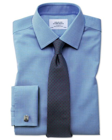 Bügelfreies Extra Slim Fit Hemd in Blau mit gewebten Quadraten