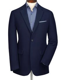 Navy slim fit moleskin unstructured jacket