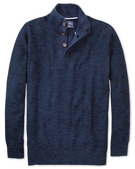 Indigo blue heather button neck sweater