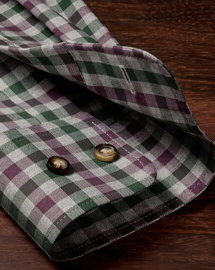Classic fit non-iron twill wine and green check shirt