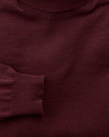 Wine merino wool roll neck jumper