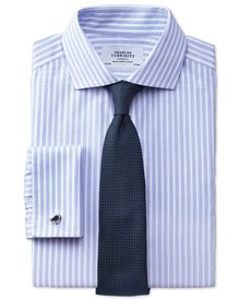 Extra slim fit spread collar non-iron stripe white and sky blue shirt