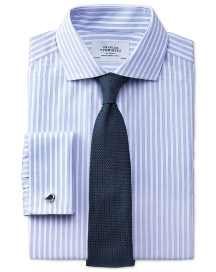 Extra slim fit cutaway collar non-iron stripe white and sky blue shirt