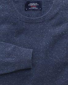 Indigo cotton cashmere crew neck sweater