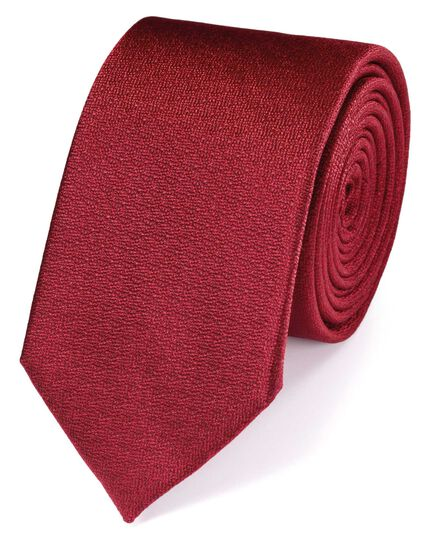 Slim red silk textured plain classic tie