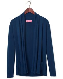 Women's navy cotton cashmere waterfall cardigan