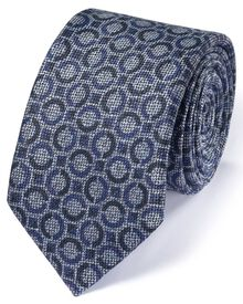 Mid blue linen mix Italian luxury circle tie