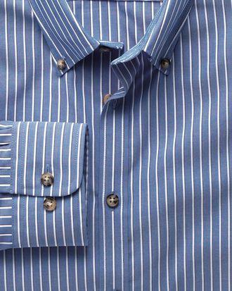 Extra slim fit non-iron poplin blue and white stripe shirt