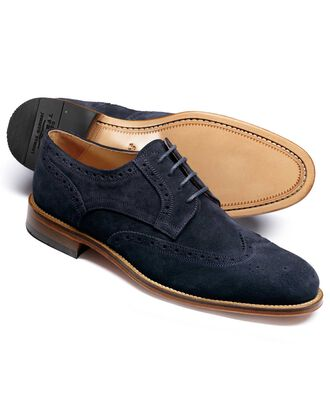 Navy Medlyn suede wing tip brogue Derby shoes