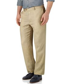 Stone classic fit linen trousers