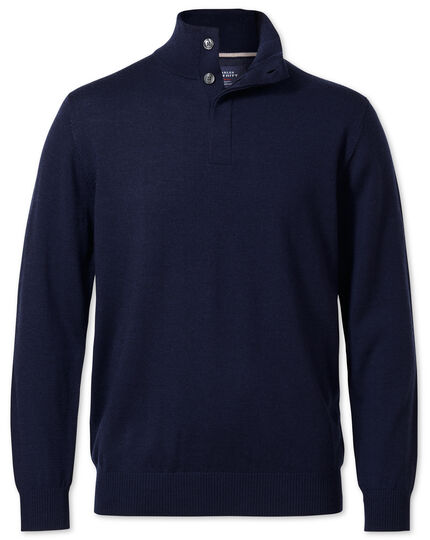 Navy button neck merino wool sweater